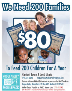 Rogue Valley Mobile Pack Donation Flyer